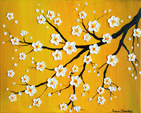 Cherry Blossoms Over a Yellow Sky