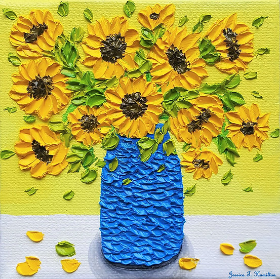 Warmth of Sunflowers 4x4in Oil