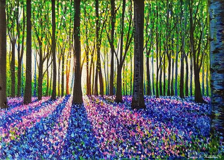 "Morning Walk Through Bluebells, 5x7"", Acrylic on Canvas"