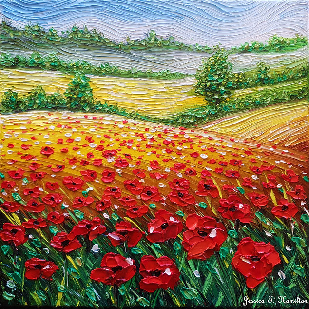 Poppies over fields of gold
