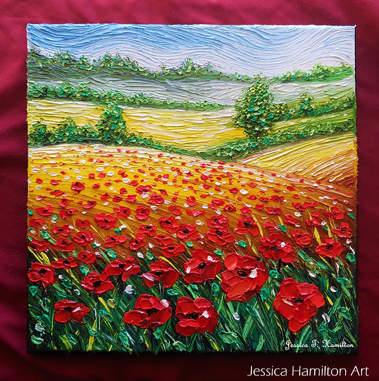 Poppies Over Fields of Gold, 12x12 In, Oil on Canvas