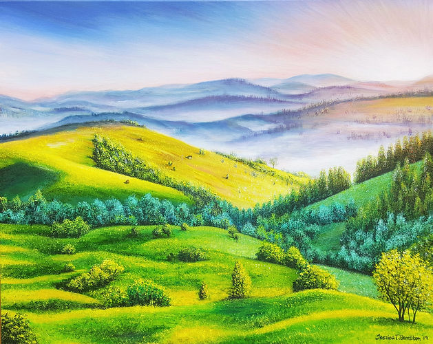 Misty Rolling Hills Jessica T Hamilton fine art painting