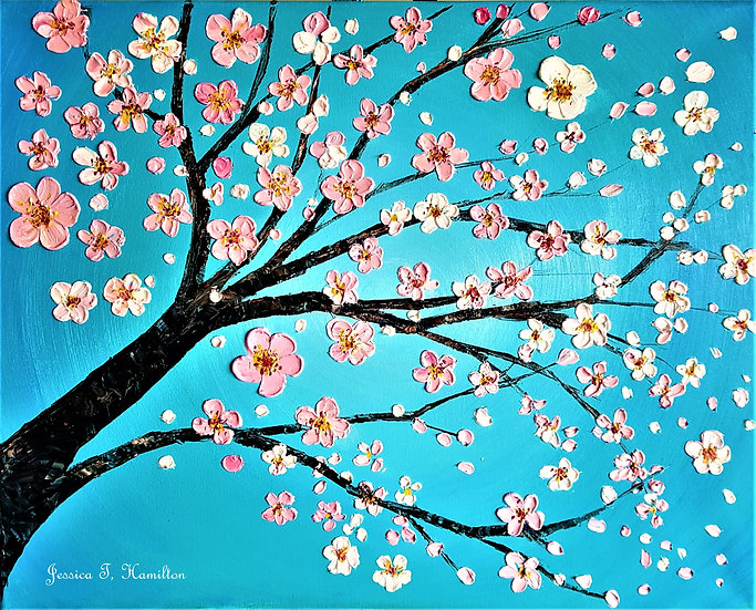 "Pink Cherry Blossoms, 16x20"", Oil on Canvas"