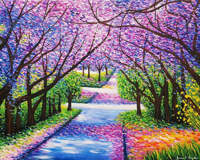 Path of Jacaranda Trees, 12x16, Acrylic on Canvas