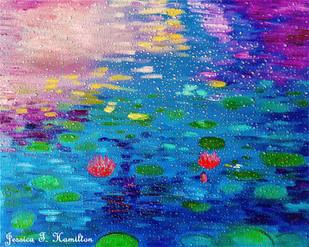 Lotus Pond Through Raindrops on Window -