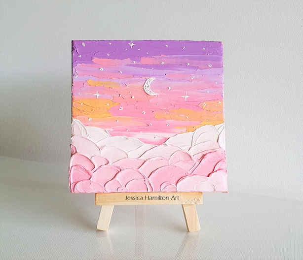 Pink Clouds and the Moon