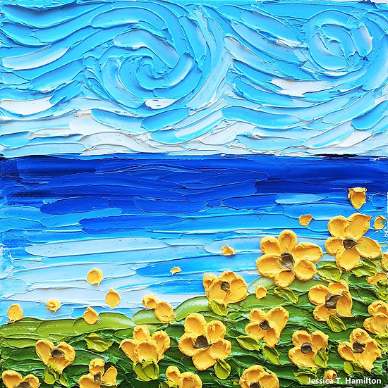 Yellow Flowers by the Sea 6x6in Oil on Canvas Original Painting