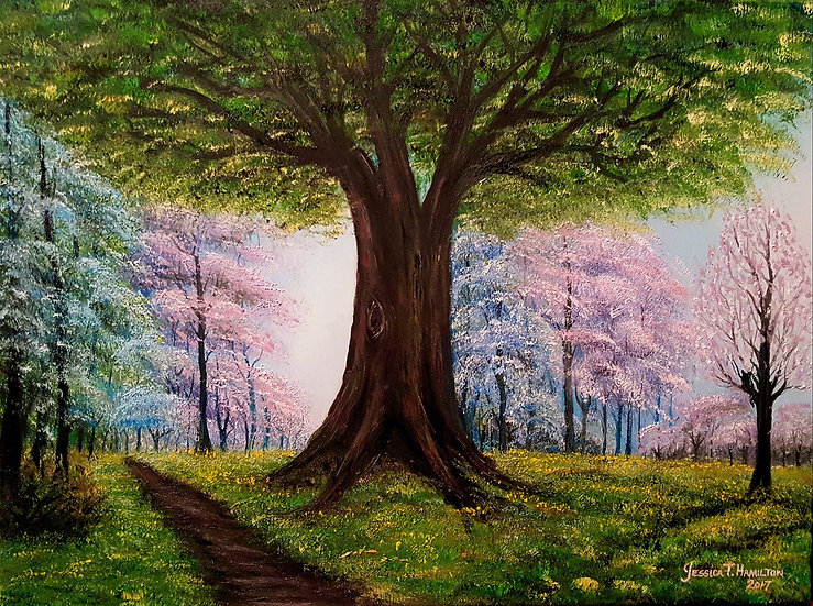 The Old Tree at Spring, 18x24, Oil on Canvas