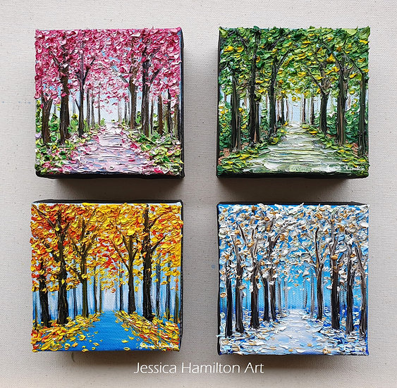 Trees of Four Seasons, 4-Set Painting Series 4x4inches