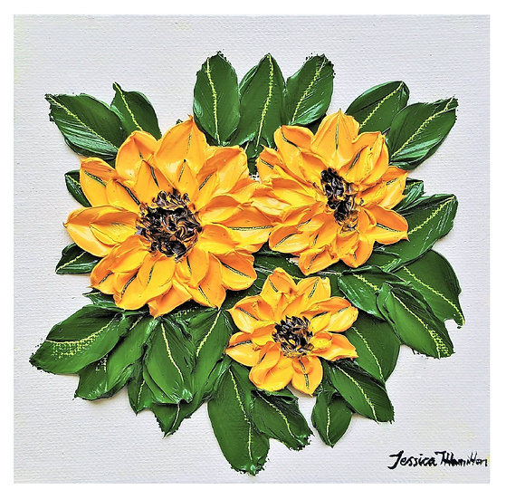 Original Painting Sunflower Bouquet Oil on Canvas Floral Wall Art Decor