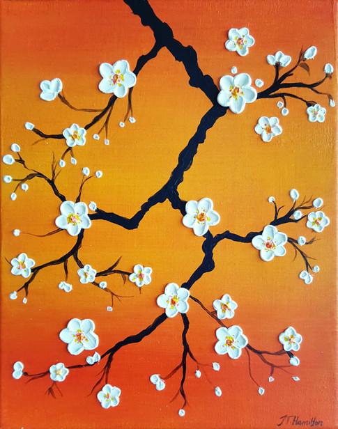 Cherry Blossoms Over a Orange Sky