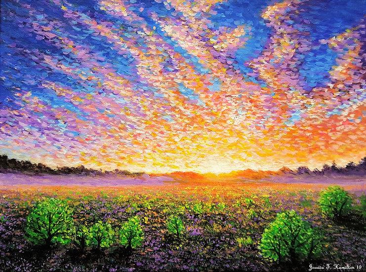 "Oasis Sunset, 12x16"", Acrylic on Canvas"