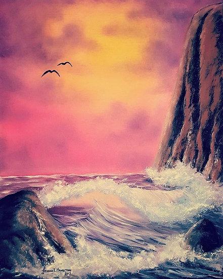 "Ocean Wave at Dawn, 16x20"", Oil on Canvas"