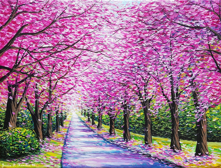 "Path of Cherry Blossoms, 9x12"", Acrylic on Canvas"