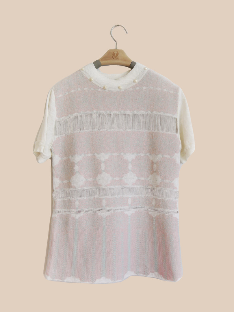 珍珠領提花粉色衫 Pearl Collar Jacquard Shirt