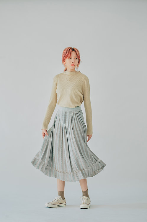 提花灰粉色百摺裙 Grey Jacquard Pleated Skirt