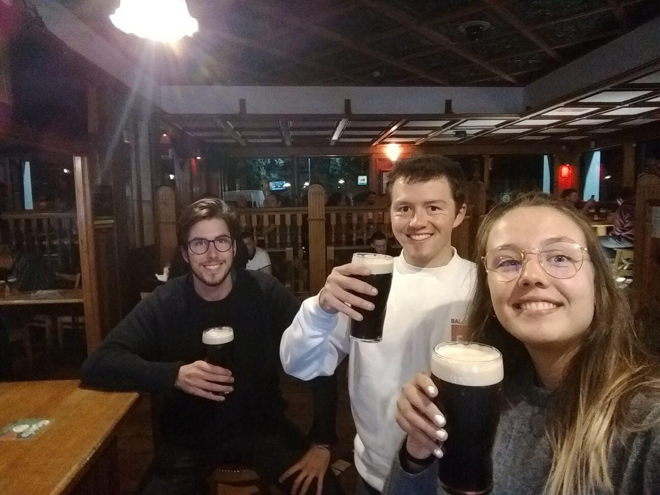 Jorge, Anton and Laura enjoying some Dublin refreshments