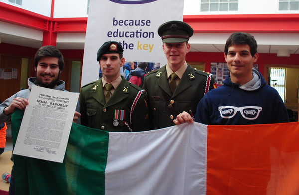 Alvaro and Angel (2015/16) at the Presentation of the Flag to Citywise from the Irish Army