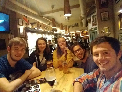 Enjoying a social evening with other Europena volunteers during the Leargas mid-way training weekend