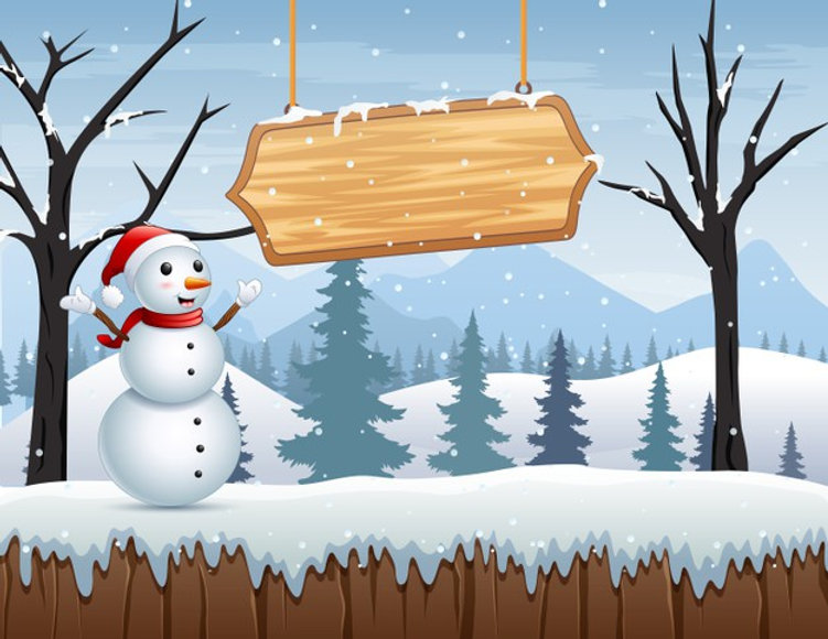 winter-landscape-with-snowman-wooden-sig
