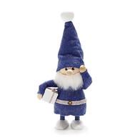 プレゼントを持った青い服のサンタ