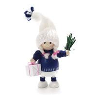 プレゼントを持った青い胴長の女の子