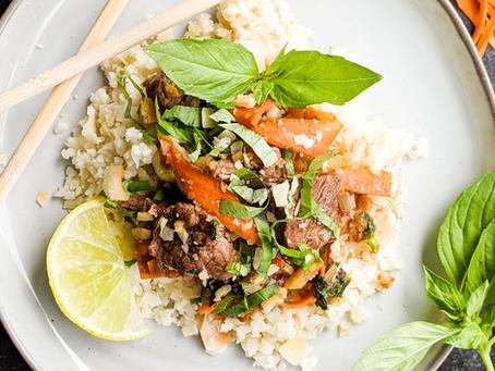 Thai Basil Stir Fry with Coconut Cauliflower Rice