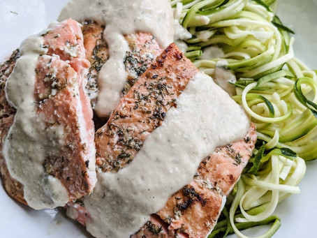 Creamy Salmon over Zoodles