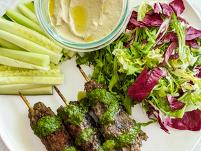 Greek Lamb Kabobs with Mint Sauce & Roasted Garlic Cauliflower Hummus
