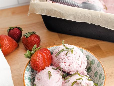 Strawberry Basil Coconut Ice Cream