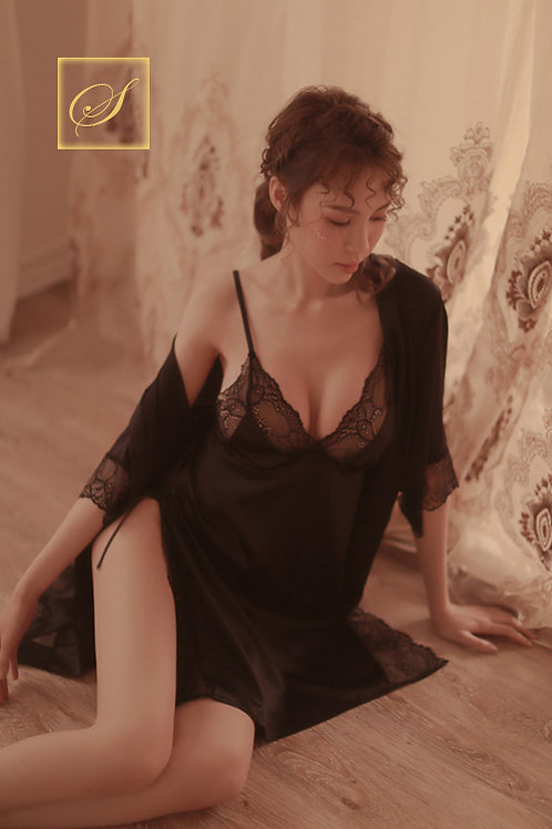 """Jasmine"" 3 Piece Negligee & Rope Set (Black)"