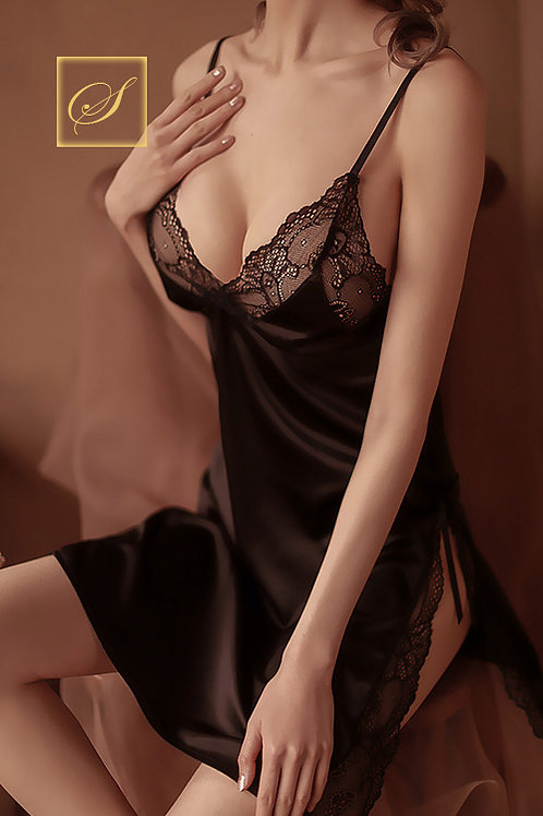 """Jasmine"" Negligee Set (Black)"