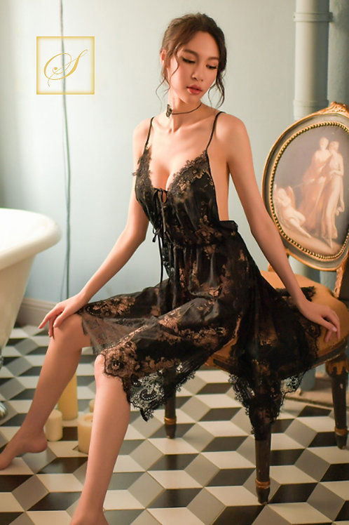 """Rose"" Luxury Nightwear (Black)"