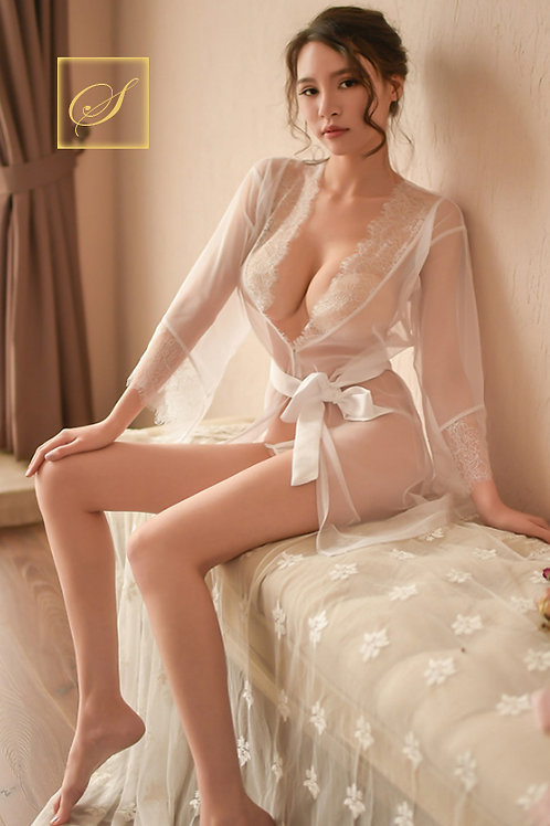 """""""Linda"""" Lace Nightgown (White)"""