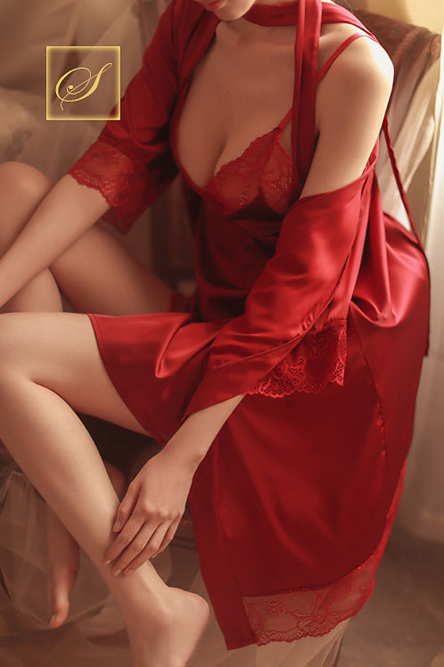 """Jasmine"" 3 Piece Negligee & Rope Set (Red)"