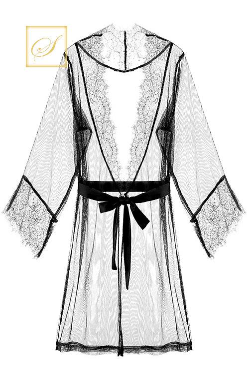 """Linda"" Lace Nightgown (Black)"