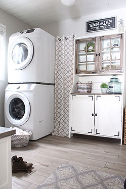 Small laundry room decor in farmhouse style.