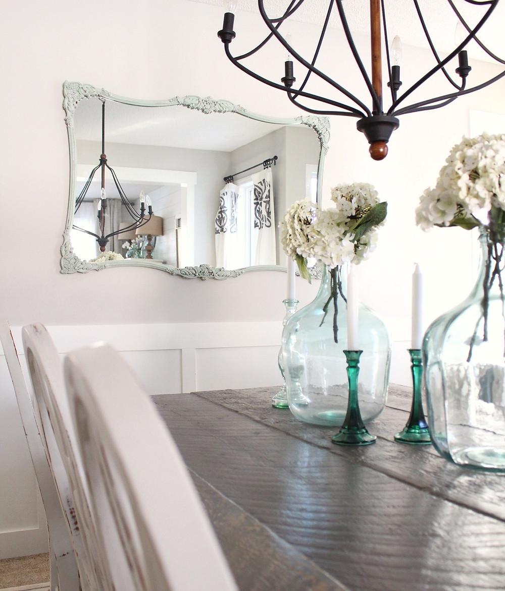 painted mirror in diningroom