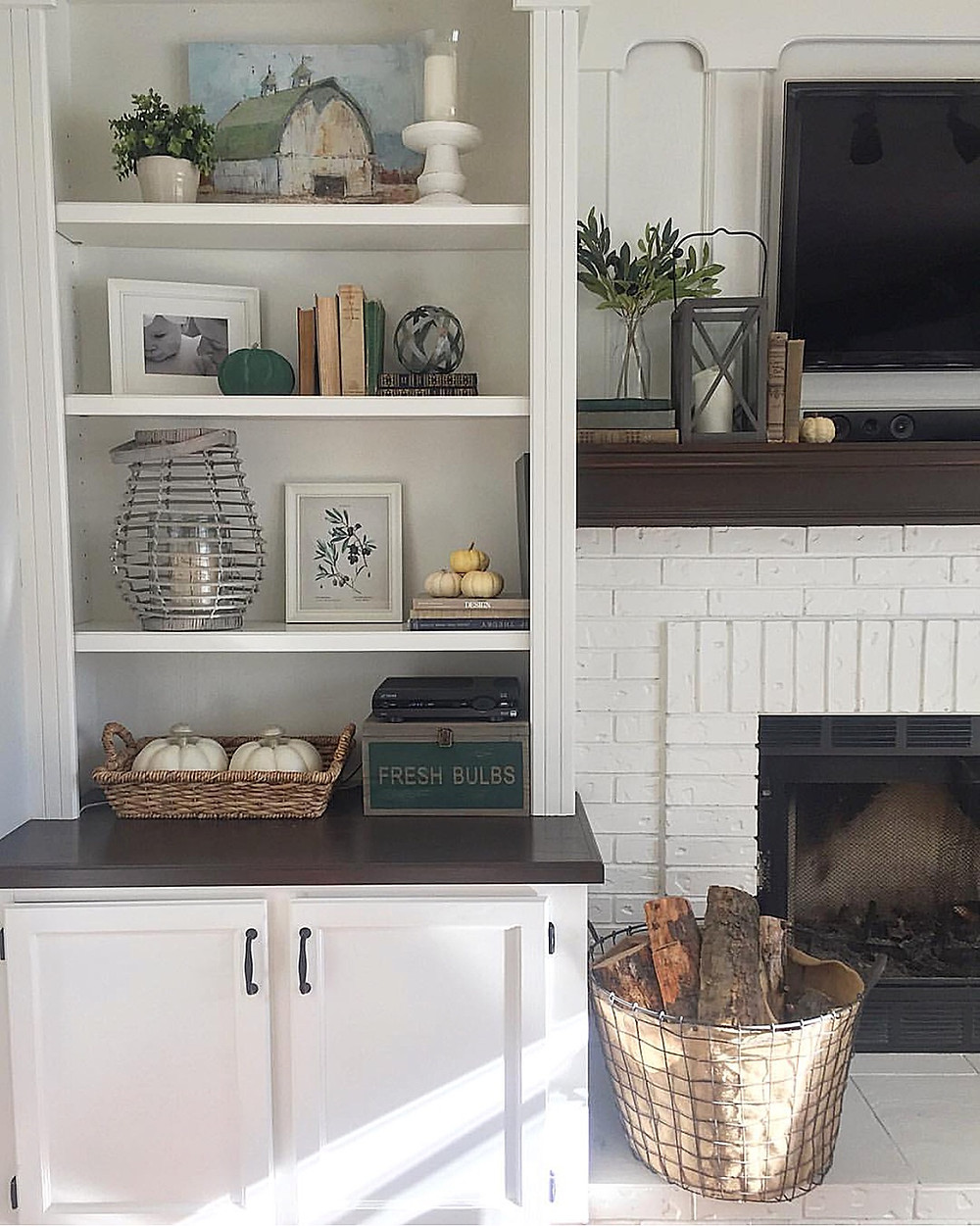 Brick Fireplace with Built-Ins Painted White   Farmhouse Style Decor