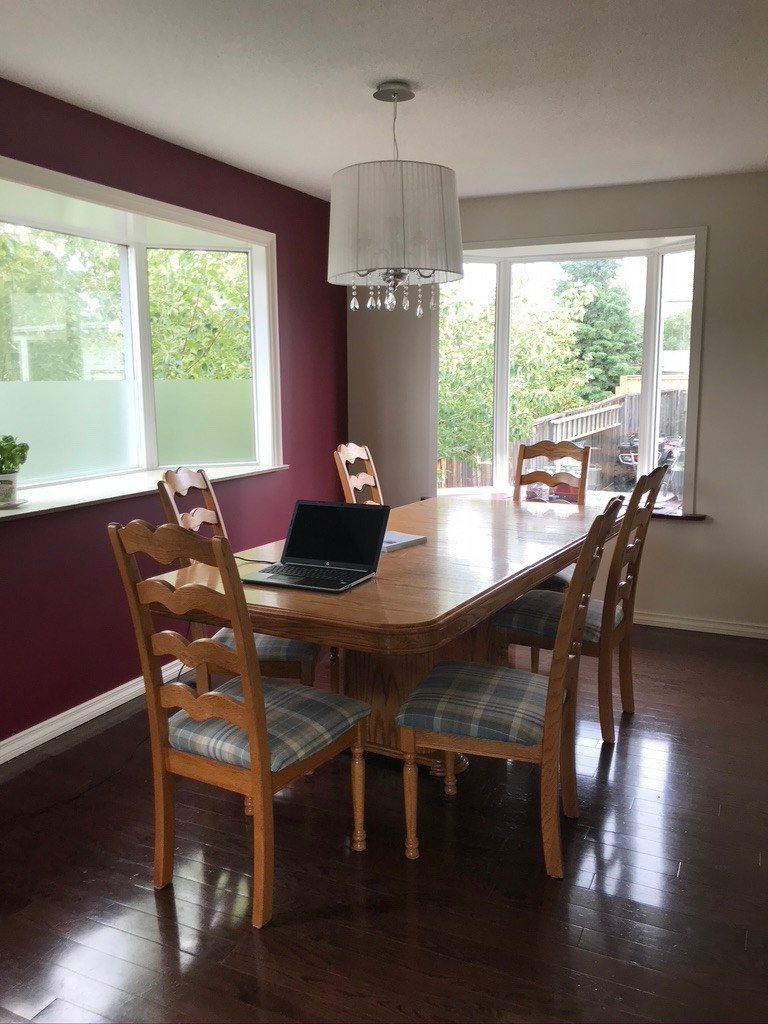 Dining Room with a Red Wall and White Wall | Old Light Fixture Above Table