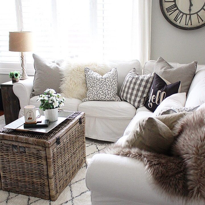 white ikea ektorp sectional in a cozy livingroom