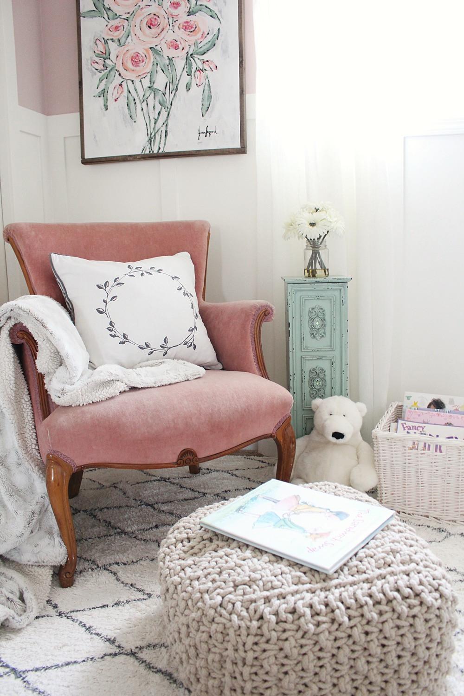 vintage pink chair in girls bedroom