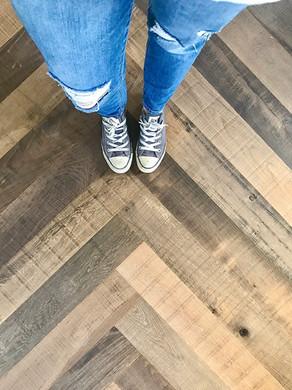 Our New Herringbone Wood Floors