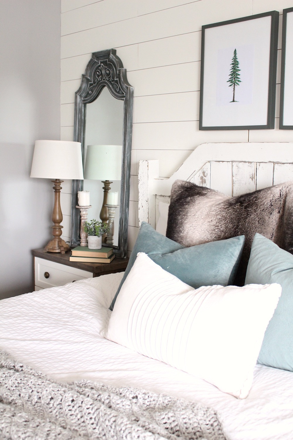 Shiplap wall behind bed as a feature wall