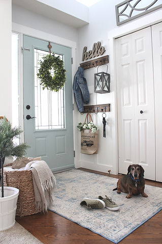 Farmhouse style front entrance.