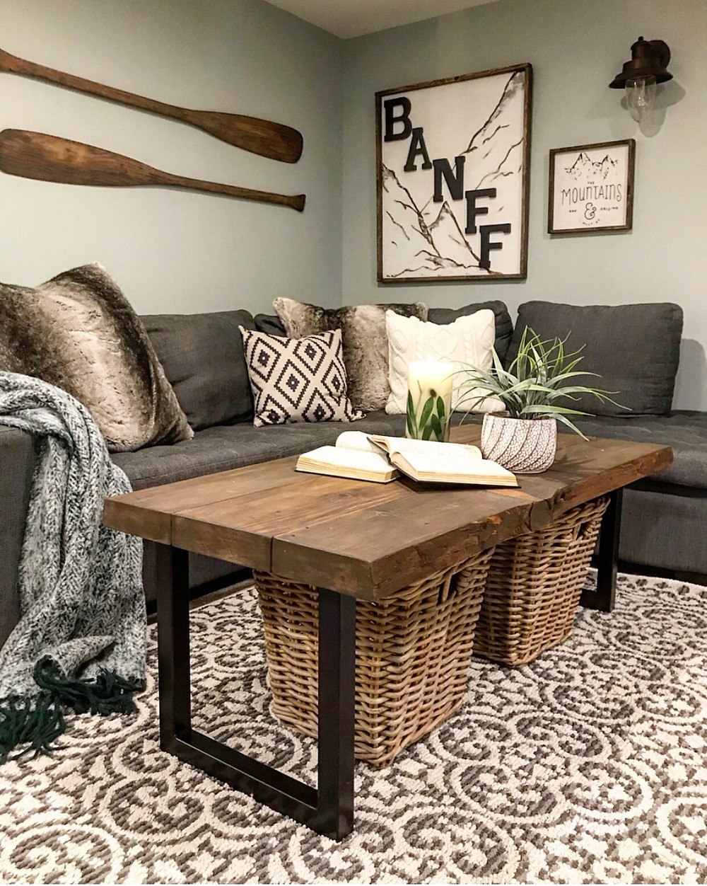 Live |Edge coffee table in basement living toom