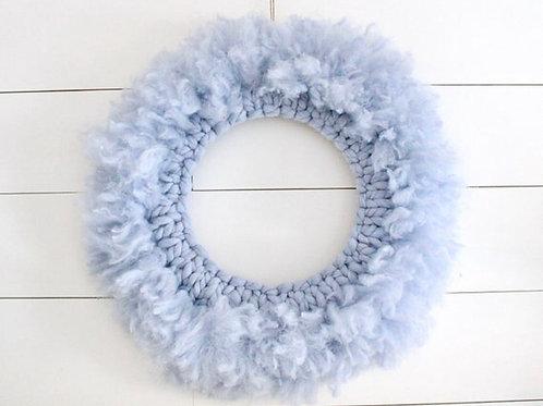 Blue Lions Mane Chunky Knit Wreath