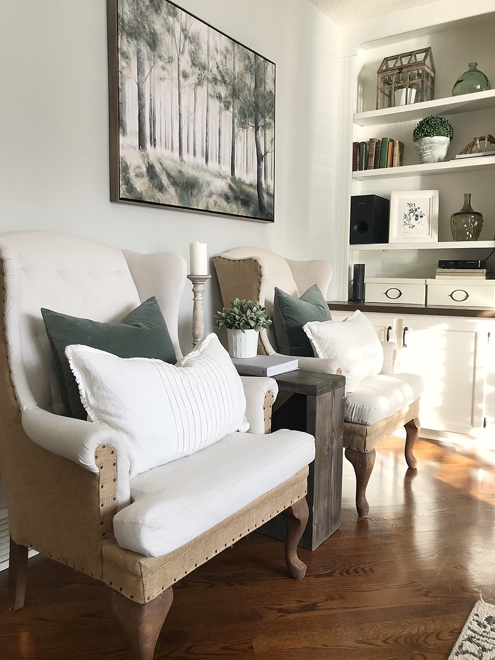 wingback chairs in livingroom