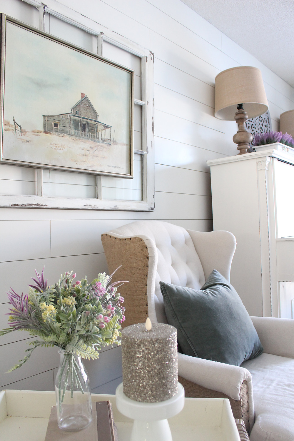 DIY faux shiplap in living room with farmhouse decor