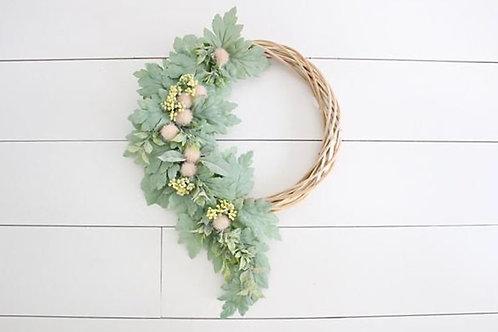 Small Asymmetrical Lambs Ear Wreath